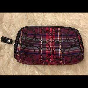 Coach Poppy Tartan Plaid Clutch Cosmetic Bag